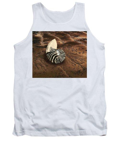 Zebra Nautilus Shell On The Sand Tank Top
