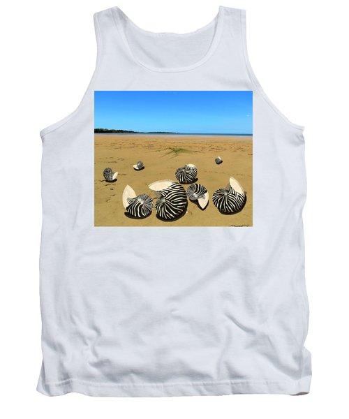 Zebra Nautilus Shells On The Beach  Tank Top