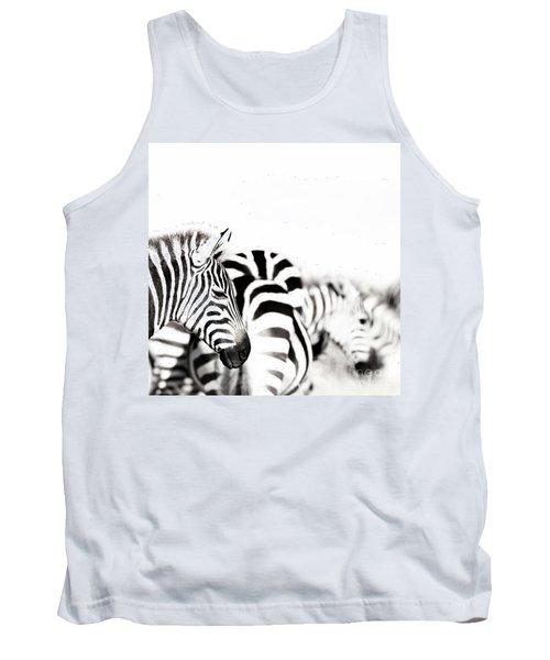 Zebras Black And White Tank Top
