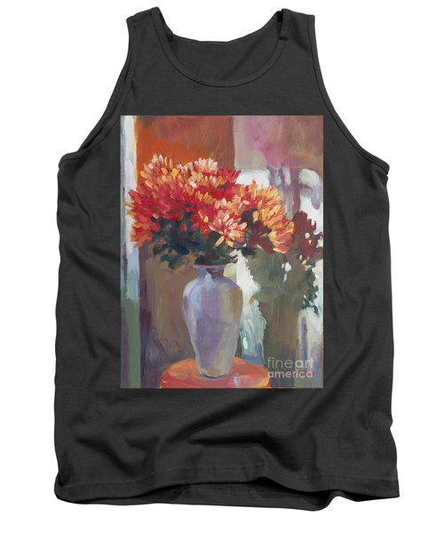Chrysanthemums In Vase Tank Top