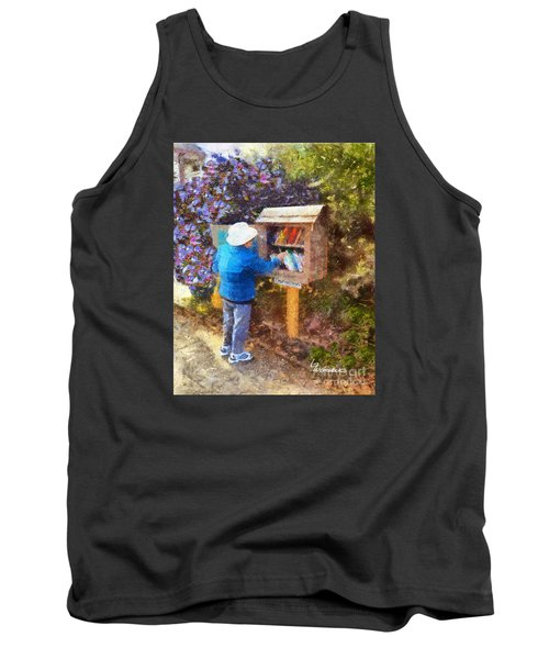 Tank Top featuring the painting  Alameda  Little Free Library by Linda Weinstock