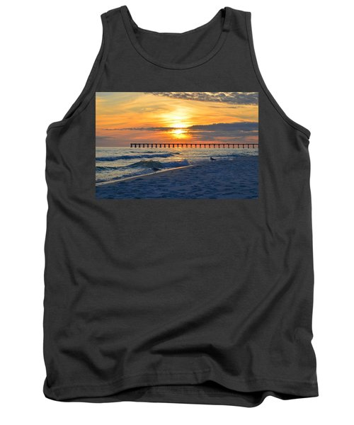0108 Sunset Colors Over Navarre Pier On Navarre Beach With Gulls Tank Top by Jeff at JSJ Photography