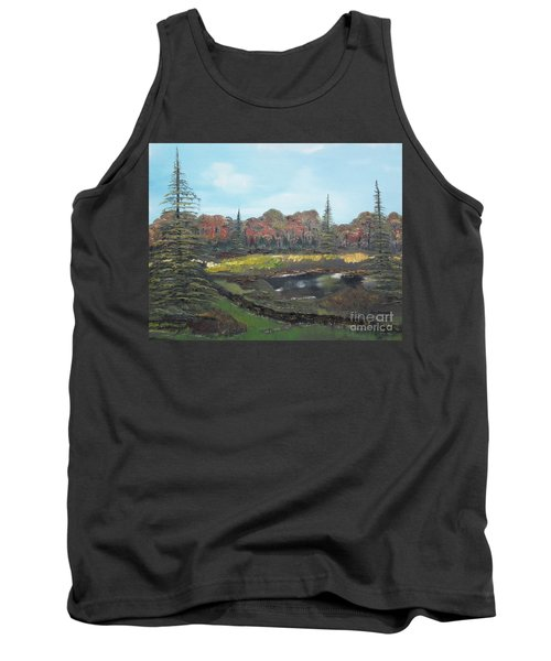 Tank Top featuring the painting Autumn Landscape by Jan Dappen