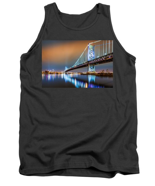 Ben Franklin Bridge And Philadelphia Skyline By Night Tank Top