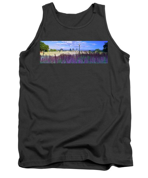 Blooming Flowers With City Skyline Tank Top