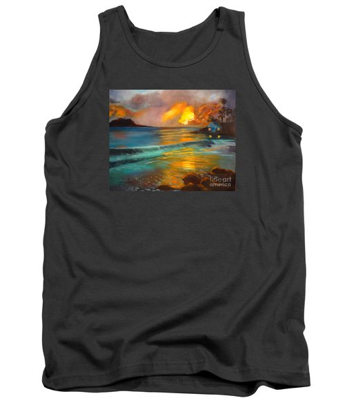 Tank Top featuring the painting Blue Sunset by Jenny Lee