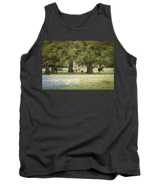 Bluebonnets And Bovines Tank Top
