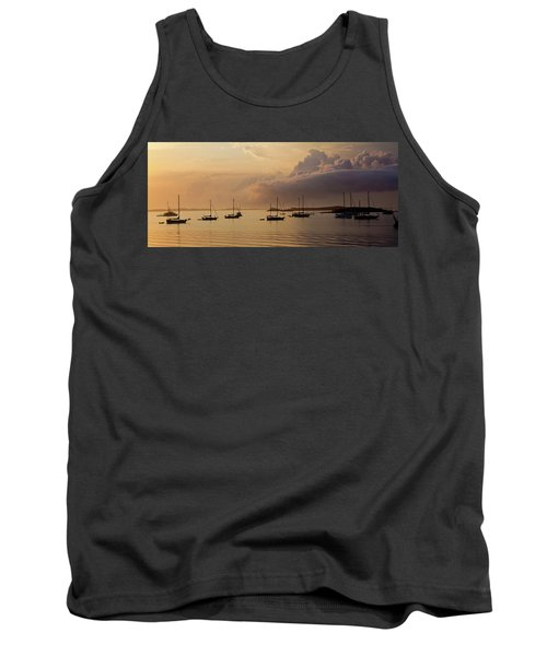 Boats In Caribbean Sea At Sunset Tank Top