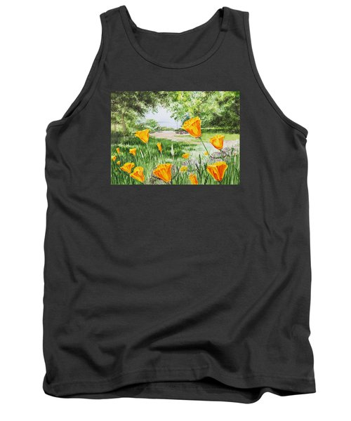 Tank Top featuring the painting California Poppies by Irina Sztukowski