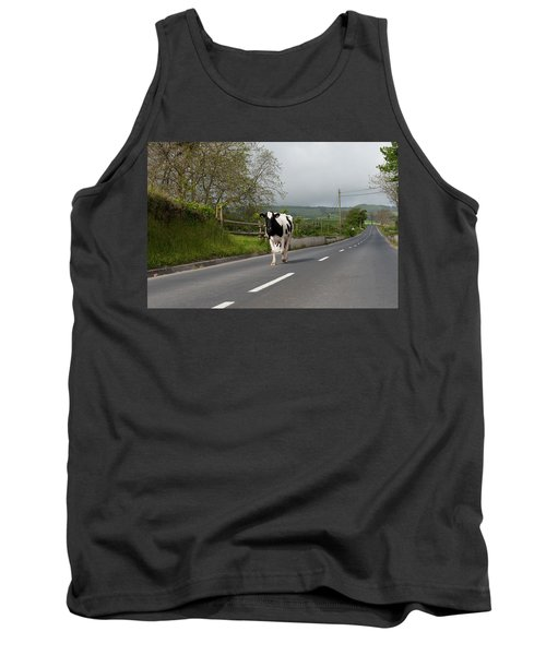 Cow Walks Along Country Road Tank Top