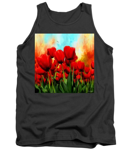 Devotion To One's Love- Red Tulips Painting Tank Top