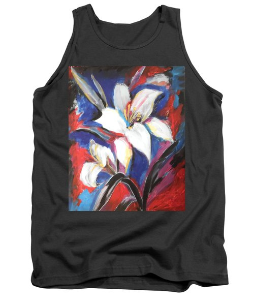 Tank Top featuring the painting Fair Pure Fragile White Lilies by Esther Newman-Cohen