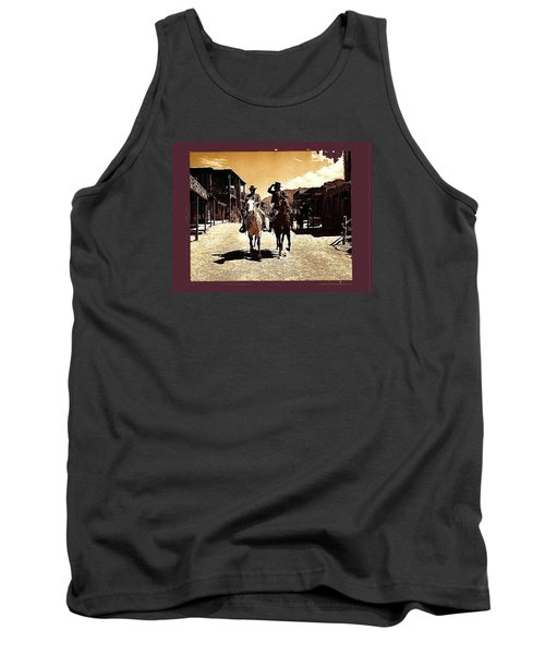Film Homage Mark Slade Cameron Mitchell Riding Horses The High Chaparral Old Tucson Az C.1967-2013 Tank Top by David Lee Guss