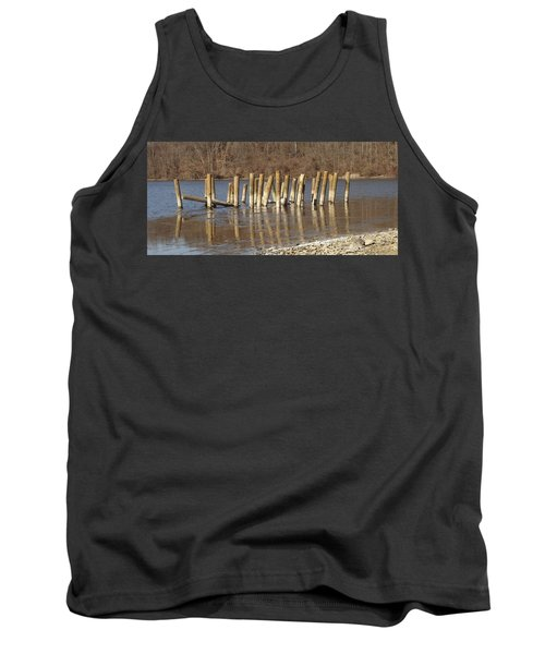 Tank Top featuring the photograph Frozen Pilings by Michael Porchik