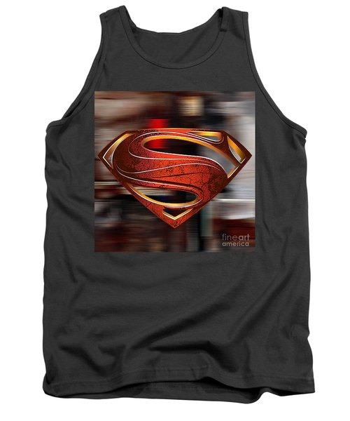 Tank Top featuring the mixed media Man Of Steel Superman by Marvin Blaine