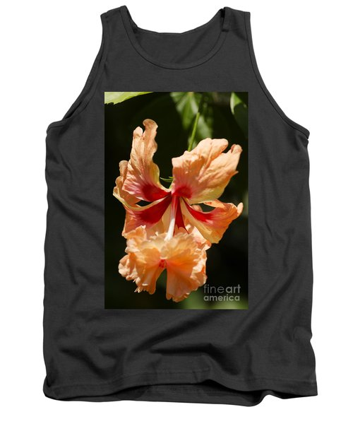 Peach And Red Flower Tank Top
