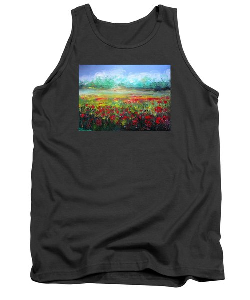 Tank Top featuring the painting Poppy Fields by Vesna Martinjak