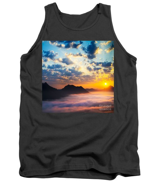Sea Of Clouds On Sunrise With Ray Lighting Tank Top