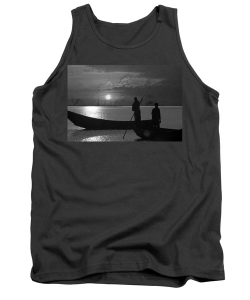 Serenity Of The Nature In Congo 2 Boat Men Calling It A Day At The Sunset Who Knew It Could Be So Pe Tank Top