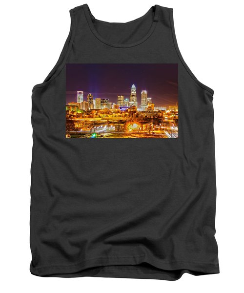 Tank Top featuring the photograph Skyline Of Uptown Charlotte North Carolina At Night by Alex Grichenko