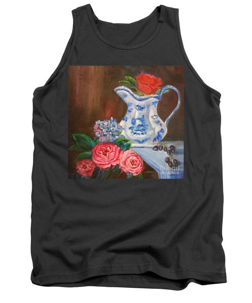 Still Life With Blue And White Pitcher Tank Top
