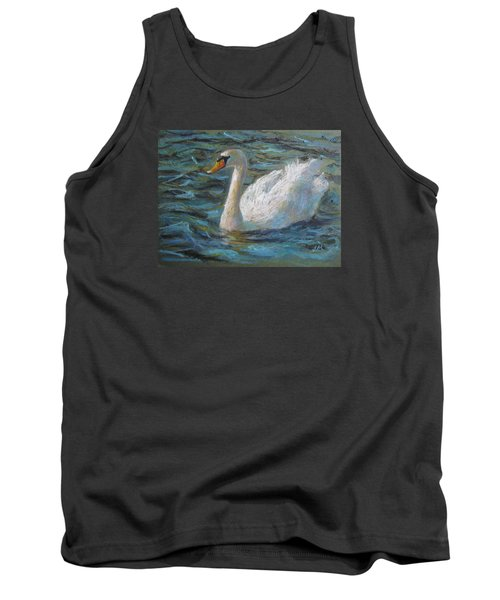 Tank Top featuring the painting Swan by Jieming Wang