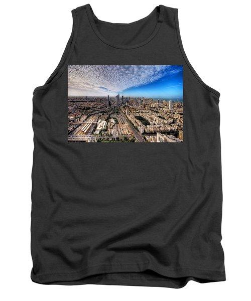 Tank Top featuring the photograph Tel Aviv Skyline by Ron Shoshani