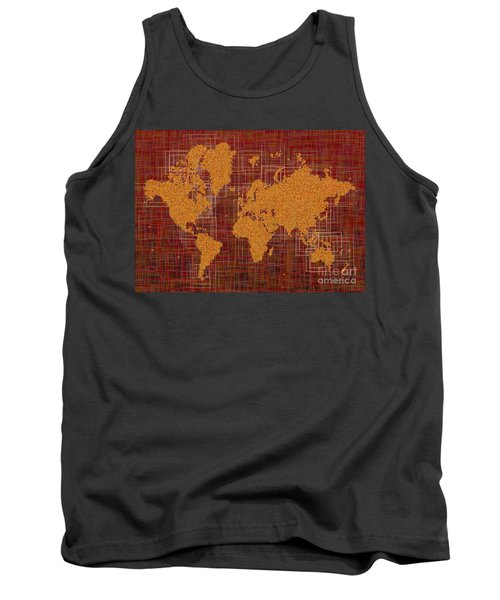World Map Rettangoli In Orange Red And Brown Tank Top by Eleven Corners
