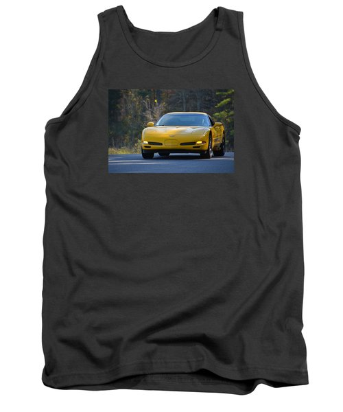 Yellow Corvette Tank Top by Mike Martin
