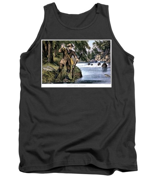 1870s Brook Trout Fishing - Currier & Tank Top