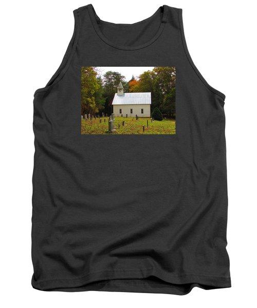 Cade's Cove 1902 Methodist Church Tank Top by Kathy Long