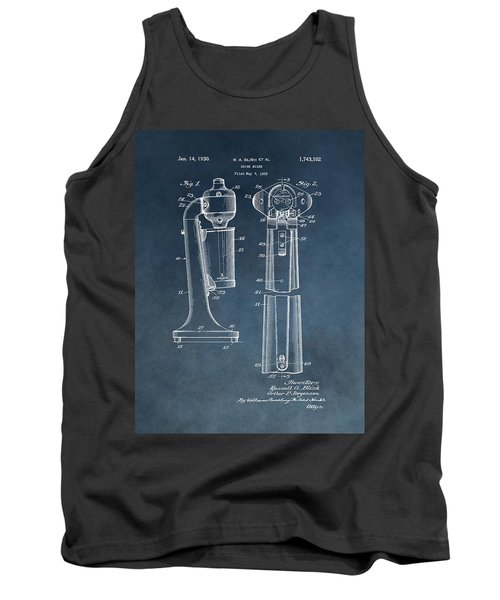 1930 Drink Mixer Patent Blue Tank Top by Dan Sproul