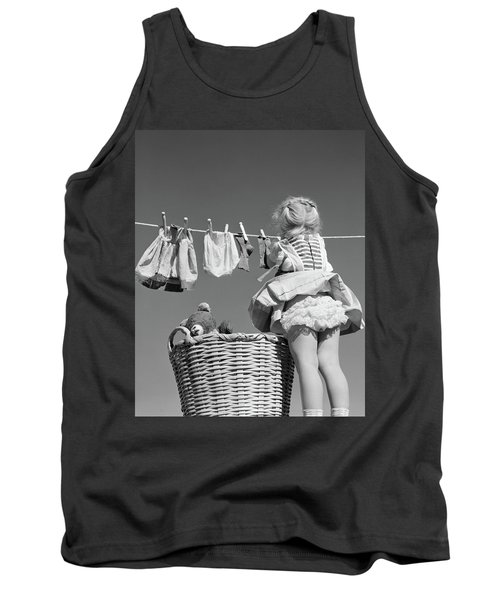 1950s Back View Of Girl Hanging Laundry Tank Top