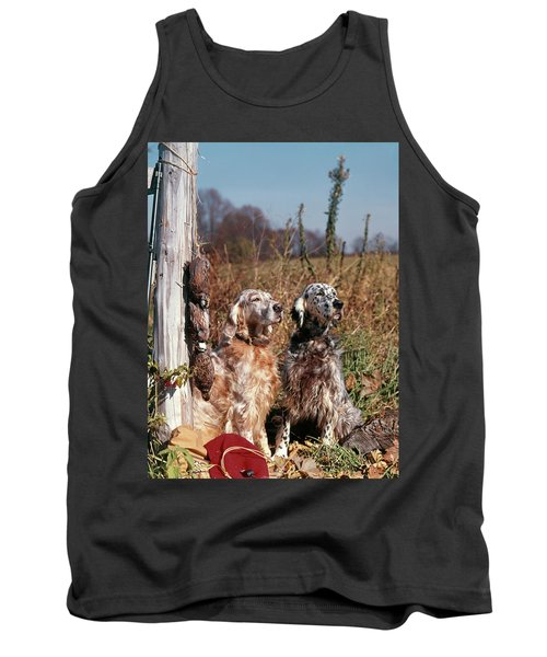 1960s Two English Setter Dogs Sitting Tank Top
