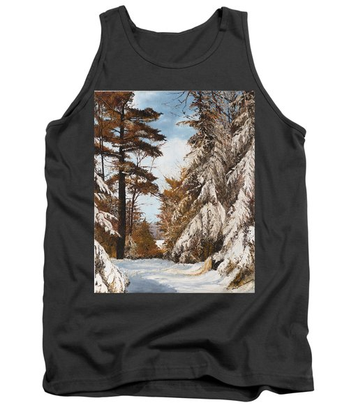Tank Top featuring the painting Holland Lake Lodge Road - Montana by Mary Ellen Anderson