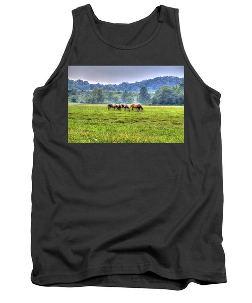 Horses In A Field Tank Top by Jonny D