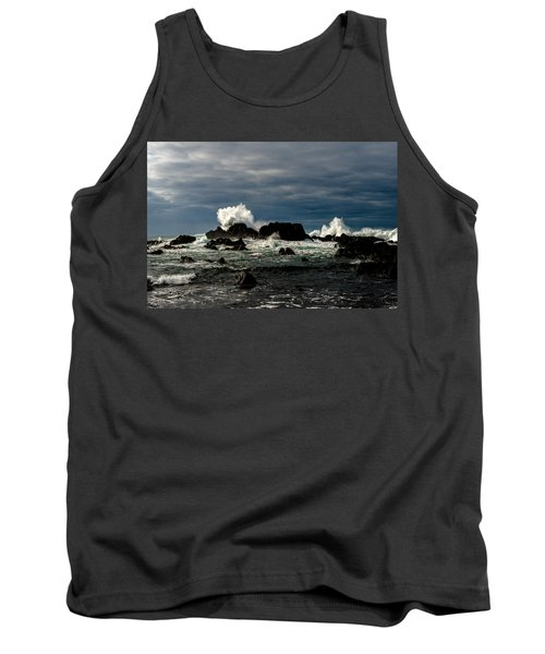 Stormy Seas And Spray Under Dark Skies  Tank Top