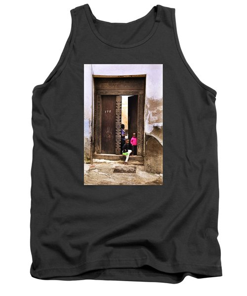 Tank Top featuring the photograph Kids Playing Zanzibar Unguja Doorway by Amyn Nasser