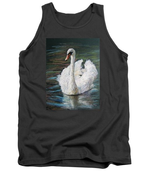 Tank Top featuring the painting White Swan by Jieming Wang