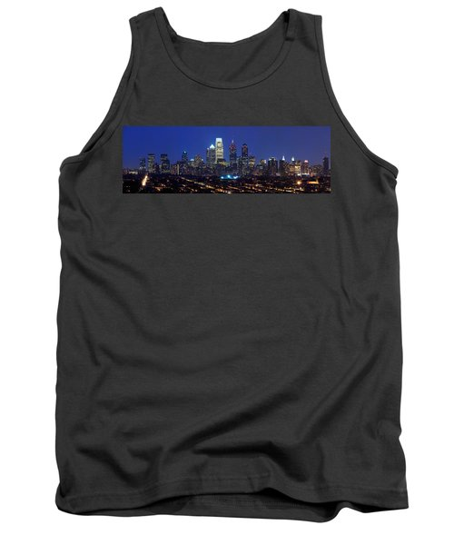 Buildings Lit Up At Night In A City Tank Top by Panoramic Images