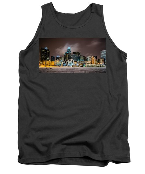 Charlotte Queen City Skyline Near Romare Bearden Park In Winter Snow Tank Top