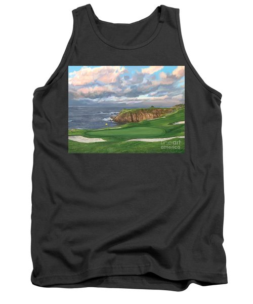 8th Hole Pebble Beach Tank Top by Tim Gilliland