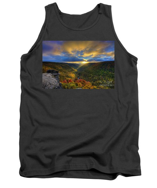A Blue And Gold Sunset Tank Top