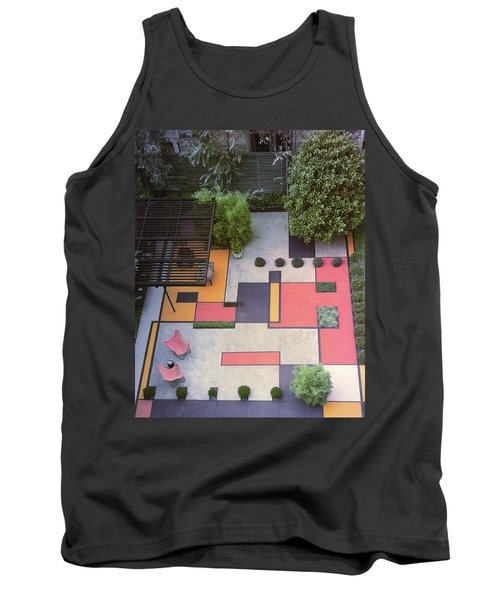 A Garden With Colourful Landscaping In Dr Tank Top