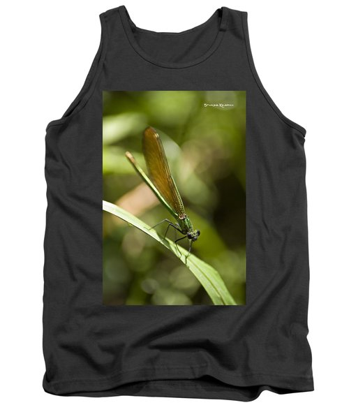 Tank Top featuring the photograph A Green Dragonfly by Stwayne Keubrick