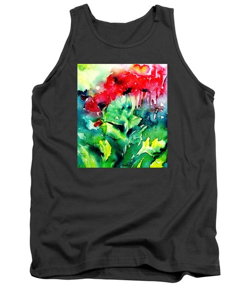 A Haze Of Poppies Tank Top by Trudi Doyle