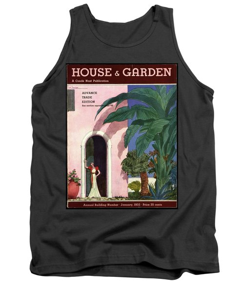A House And Garden Cover Of A Woman In A Doorway Tank Top