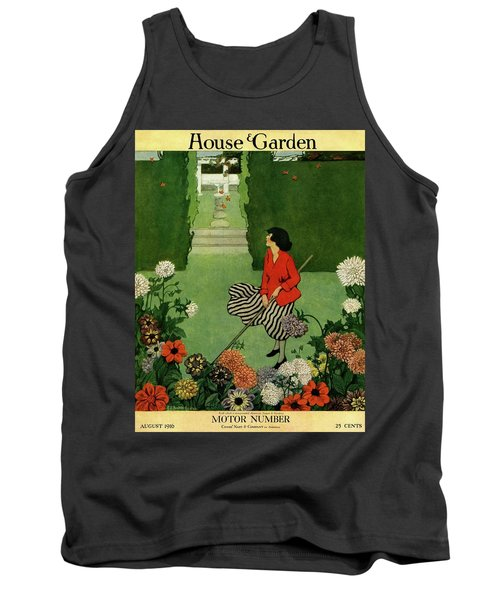 A House And Garden Cover Of A Woman Raking Leaves Tank Top
