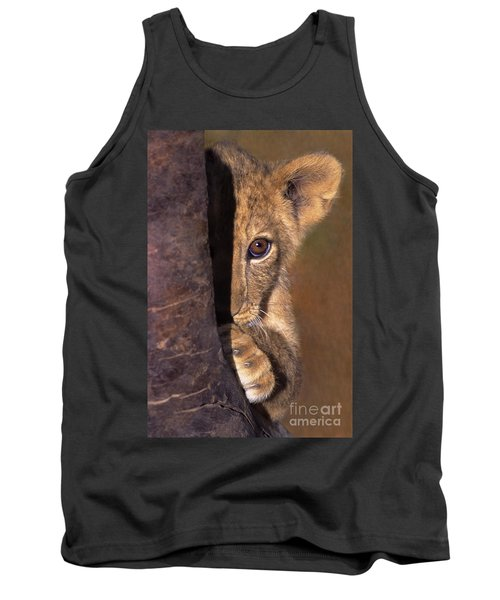 A Lion Cub Plays Hide And Seek Wildlife Rescue Tank Top by Dave Welling