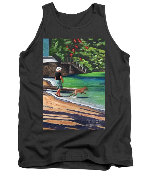 Tank Top featuring the painting A Man And His Dog by Laura Forde